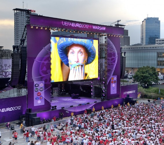 Giant modular LED screen SUPERVISION EURO 2012 Football Warsaw