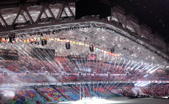 Giant LED screen SUPERVISION Winter Olympic Games Sochi 2014 banner